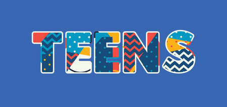 The word TEENS concept written in colorful abstract typography. Vector EPS 10 available.