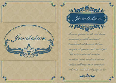 Photo pour premium invitation or wedding card in vintage decorative golden frame with beautiful filigree and retro border on ancient background, luxury postcard, ornament vector - image libre de droit