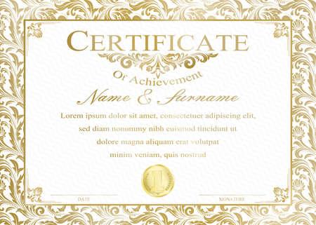 Illustration pour Certificate or diploma vintage style and retro design template vector illustration - image libre de droit