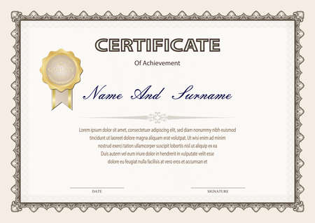 Illustration pour Certificate or diploma vintage style and design template with paper sheet. vector illustration - image libre de droit