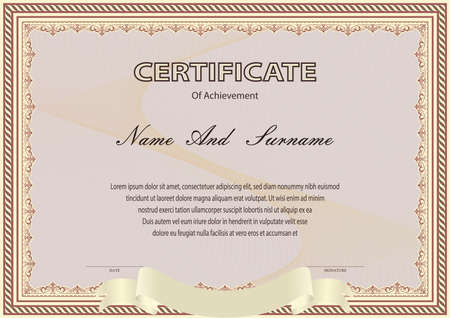 Photo pour Certificate or diploma vintage style and design template with paper sheet. vector illustration - image libre de droit