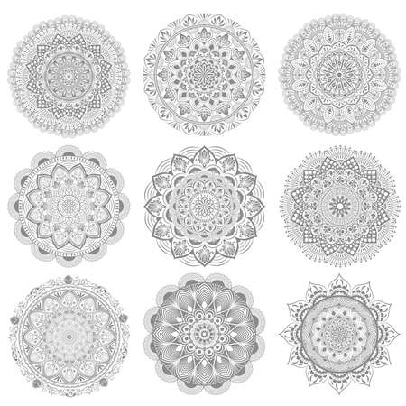 Illustration pour set circular pattern of mandala. Decorative ornament in oriental style. Mandala with floral patterns. Beautiful lined design in vintage - image libre de droit