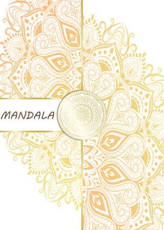 Illustration for Mandala pattern design template with frame or decorative border vintage stay. Vector illustration. - Royalty Free Image