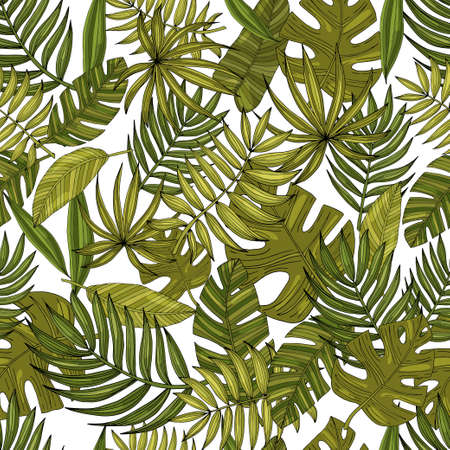 Illustration pour Seamless pattern leaves with many shades of green on a white - image libre de droit