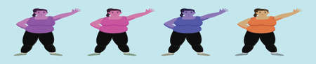 set of fat women cartoon icon design template with various models. vector illustration isolated on blue background