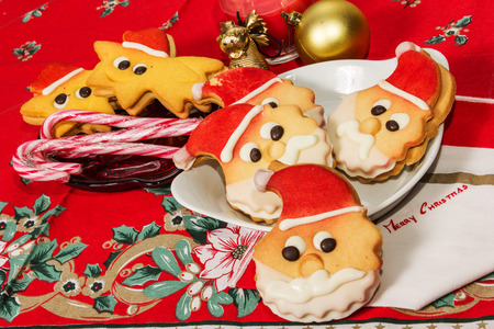 christmas cokies bischits in the shape of santa claus