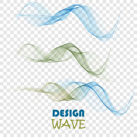 Illustration for Set of abstract color smoke waves transparent green and blue wavy design. - Royalty Free Image
