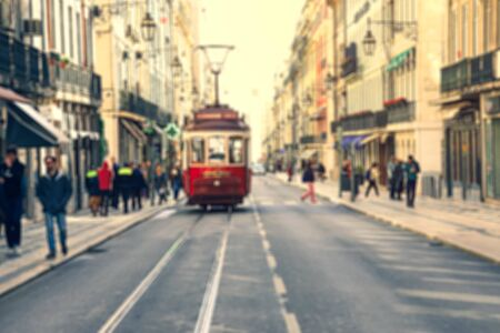Photo for Blurred image of Street in the old district of the city, Lisbon - Royalty Free Image
