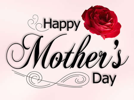 Mothers Day Card with text, rose and ornaments.