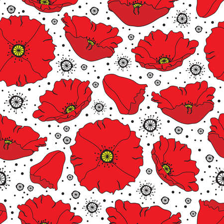 Floral seamless vector background with poppy flowers
