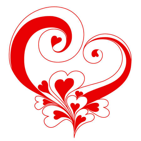 Abstract heart with ornaments of spirals
