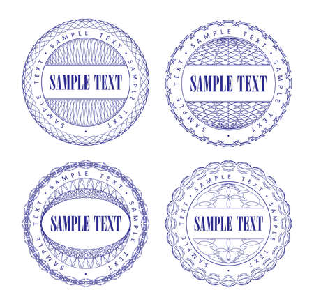 A set of vector guilloche blue seal, pattern for currency, certificate or diplomas, vector illustration