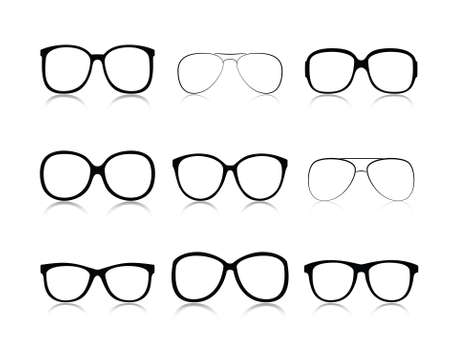 Vector icons set black Eye glasses a white background