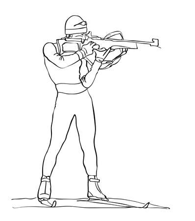 sketch of the shooter biathlete drawn in black pencil on white background