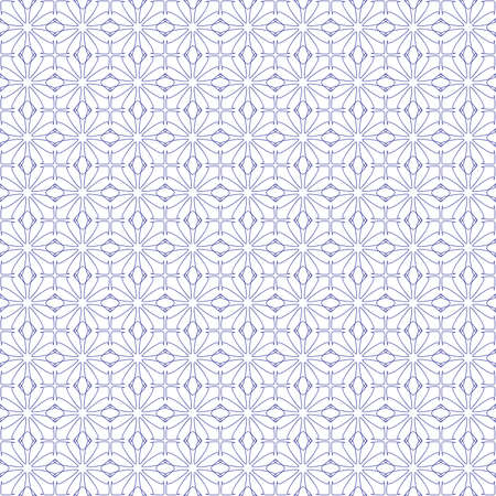Vector seamless illustration of blue tangier grid, abstract guilloche background