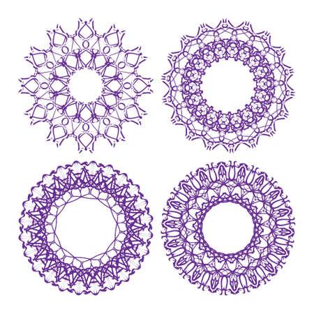 Set of vector guilloche border, decorative elements