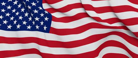 Photo pour United States Flag Close Up Illustration. Waving flag of USA - image libre de droit