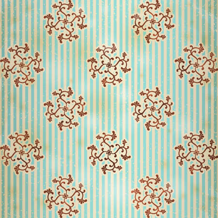 Old fashioned wallpaper with stripes and swirly ornates