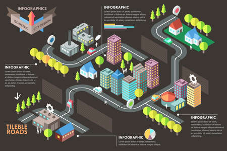 Modern infographic option banner with colorful isometric city. Vector. Can be used for web design and  workflow layoutのイラスト素材
