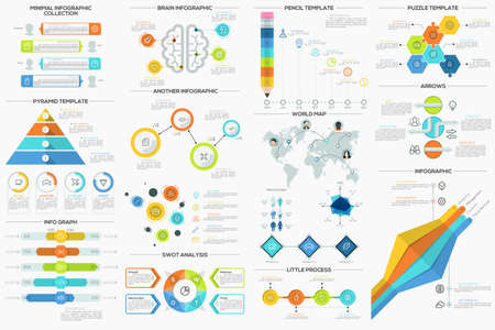 Big collection of flat minimal infographic templates. Can be used for web design, workflow layout, social media, presentations, brochures, entertainment and games.