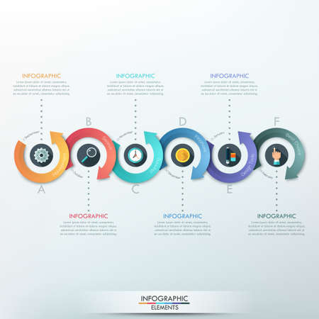 Illustration pour Modern infographics options banner with 6-part arrow process. Can be used for web design, presentations, brochures and workflow layout - image libre de droit