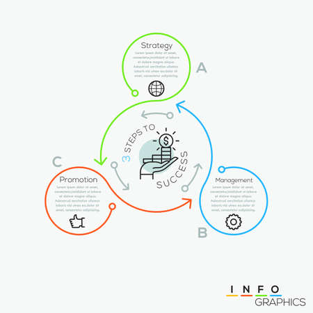 Ilustración de Thin line minimal arrow business cycle infographic template. Vector illustration. Can be used for workflow layout, diagram, number options, web design, infographics and timeline. - Imagen libre de derechos