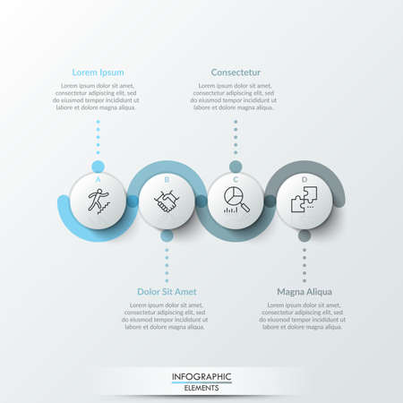 Illustration pour Four round paper white elements with linear symbols inside, translucent line curving around it and text boxes. Concept of 4 steps to business growth. Infographic design template. Vector illustration. - image libre de droit