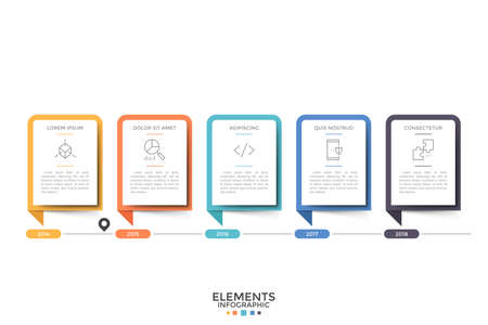 Illustration pour Horizontal timeline. Five paper white rectangular elements or cards with thin line symbols, heading and information inside and year indication. Modern infographic design template. Vector illustration. - image libre de droit
