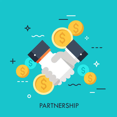 Illustration pour Handshake and dollar coins. Business partnership, effective and beneficial cooperation, deal making, agreement concept. Vector illustration in flat style for website, banner, presentation, ad. - image libre de droit