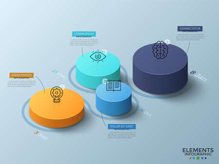 Ilustración de Isometric chart with 4 colorful cylinderical elements or columns, thin line icons, dates and place for text. Concept of timeline with four steps. Infographic design layout. Vector illustration. - Imagen libre de derechos