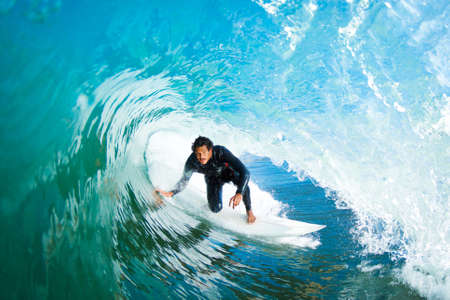 Photo for Surfer On Blue Ocean Wave - Royalty Free Image