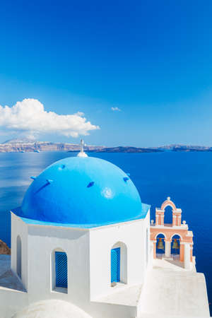White Architecture and Blue Ocean, Santorini Island, Greece, View of caldera with domes