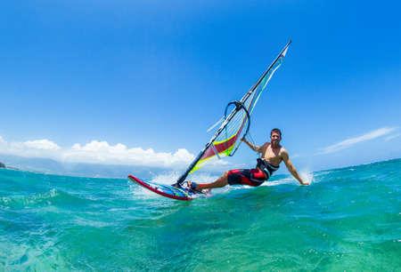 Photo pour Windsurfing, Fun in the ocean, Extreme Sport - image libre de droit