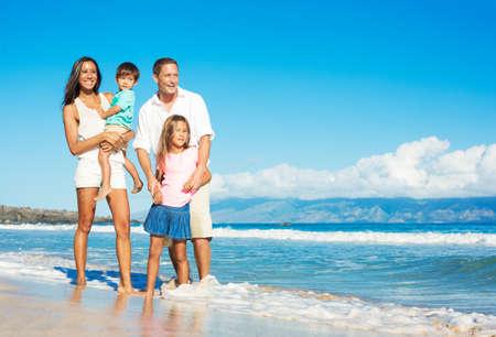 Photo pour Happy Portrait of Mixed Race Family on the Beach - image libre de droit