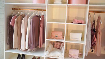 Photo pour Modern light women's dressing room with various things. - image libre de droit