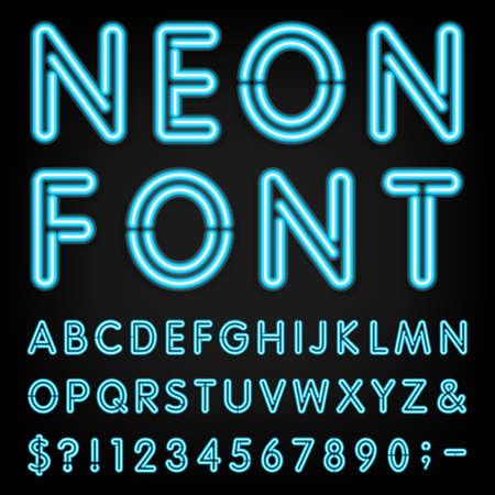 Illustration pour Neon Light Alphabet Font.  - image libre de droit