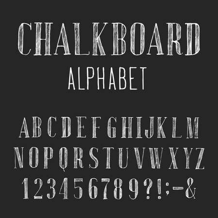 Chalkboard Alphabet Vector Font. Type letters numbers and punctuation marks. Distressed chalk vector serif font on the dark background. Hand drawn letters.