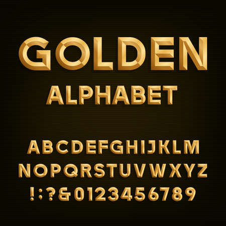 Illustration pour Golden Beveled Font. Vector Alphabet. Gold effect beveled letters, numbers and punctuation marks on a dark background. Stock vector font for your headlines, posters etc. - image libre de droit