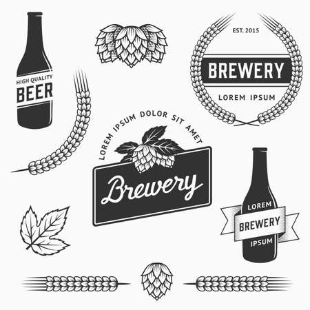 Vintage set of brewery logos, labels and design element. Stock vector. Vintage vector craft beer and brewery emblems, logos templates, labels, symbols and design elements.