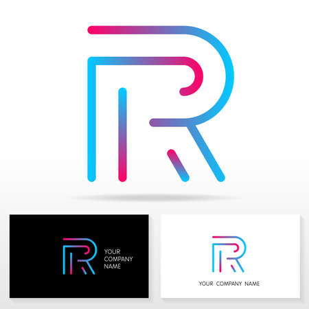 Letter R logo design vector sign - Stock vector. Business card templates.