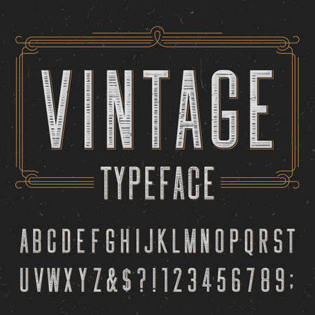 Photo pour Vintage typeface with scratched overlay texture. Type letters, numbers and symbols on a dark background. Alphabet vector font for labels, headlines, posters etc. - image libre de droit