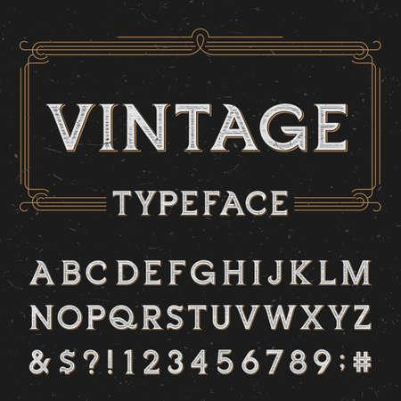 Foto de Vintage vector typeface. Type letters, numbers and symbols on a dark distressed background. Alphabet font for labels, headlines, posters etc. - Imagen libre de derechos