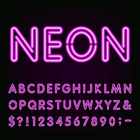Illustration pour Purple Neon Light Alphabet Font. Neon effect letters, numbers and symbols on the dark background. Vector typeface for labels, titles, posters etc. - image libre de droit