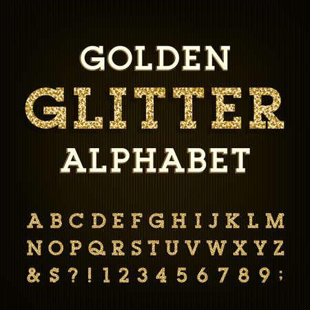 Illustration pour Golden glitter alphabet vector font. Letters, numbers and symbols.Vector typography for labels, headlines, posters etc. - image libre de droit