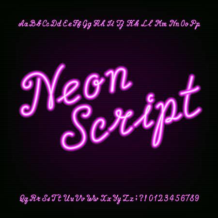 Illustration pour Neon script hand drawn alphabet font. Purple neon type letters and numbers on a dark background. Vector typeface for labels, titles, posters etc. - image libre de droit