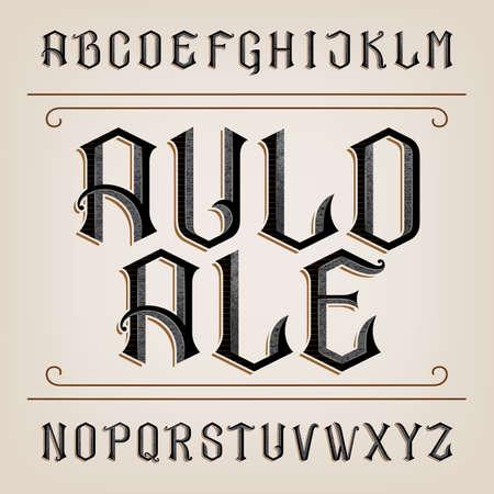 Illustration pour Old alphabet font. Distressed hand drawn letters. Vintage alphabet for labels, headlines, posters etc. - image libre de droit