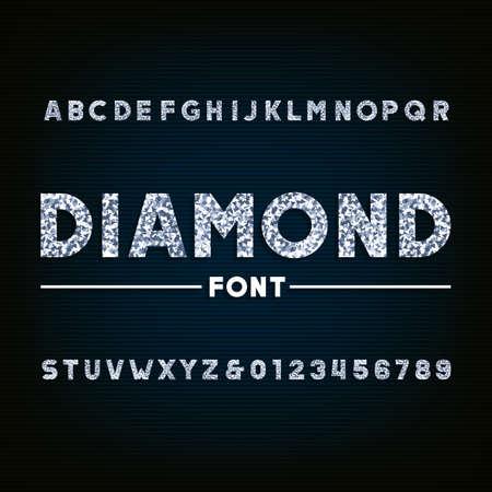 Illustration pour Diamond alphabet font. Brilliant letters and numbers. Stock vector typography for your design. - image libre de droit