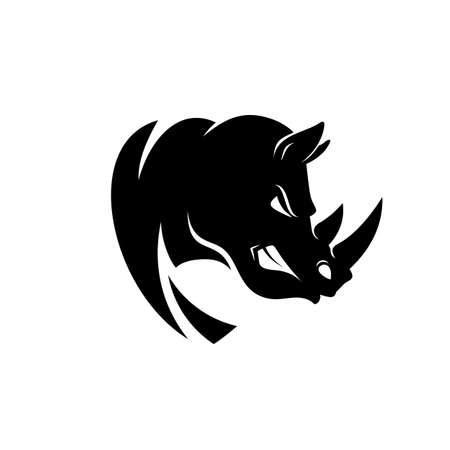 Ilustración de Rhino head logo or icon in black and white color. Rhinoceros bares its teeth. Stock vector illustration. - Imagen libre de derechos