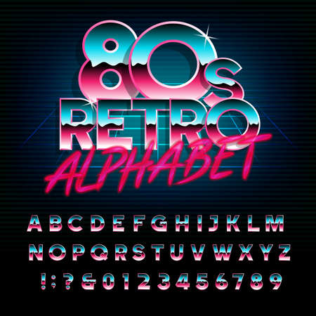 Illustration pour 80's retro alphabet font. Metallic effect type letters and numbers. Vector typeface for your design. - image libre de droit