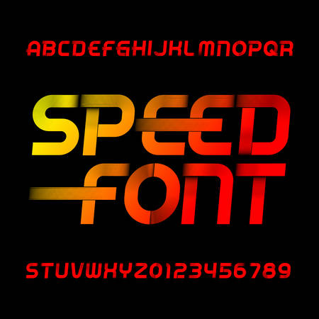 Illustration pour Speed alphabet font. Wind effect type letters and numbers on black background. Stock vector typeset. - image libre de droit